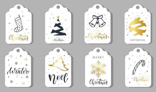Set of 8 christmas labels, stickers, tags