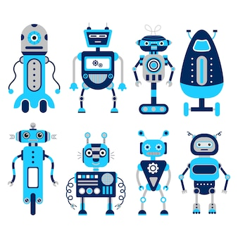 Set of 8 colorful robots on a white background.