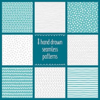 Set of 8 hand drawn vector seamless patterns