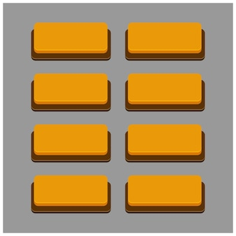 Set di 8 pulsanti di colore arancione su sfondo grigio