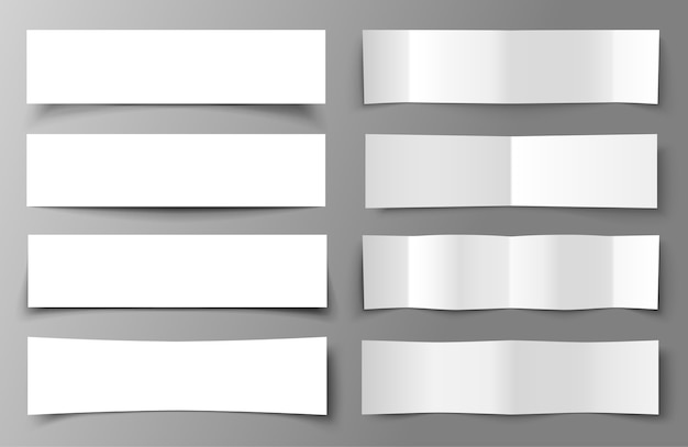 Set of 8 paper banners with shadows.