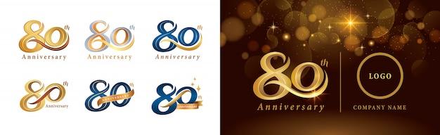 Set of 80th anniversary logotype design, eighty years celebrating anniversary logo