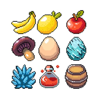 Set of 8bit pixel graphics icons isolated vector illustration fruits elixir potions eggs