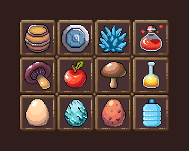 Set of 8bit pixel graphics icons isolated vector illustration fruits elixir potions mushrooms