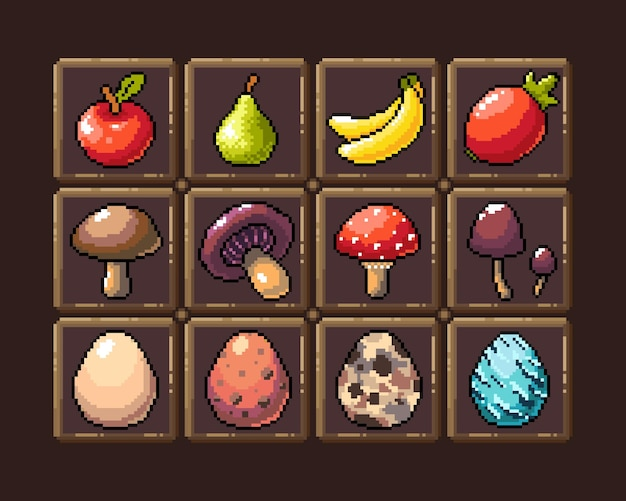 Set of 8bit pixel graphics icons isolated vector illustration game art fruit elixir potion