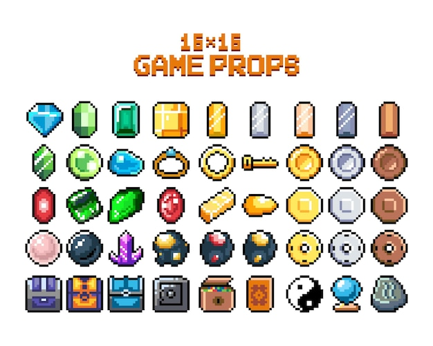 Set of 8bit pixel graphics icons isolated vector illustration game art jewelry jewelry chests
