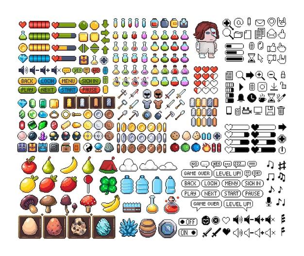 Set of 8bit pixel graphics icons isolated vector illustration game art pixel art props retro