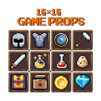 Set of 8bit pixel graphics icons isolated vector illustration game art potions weapons