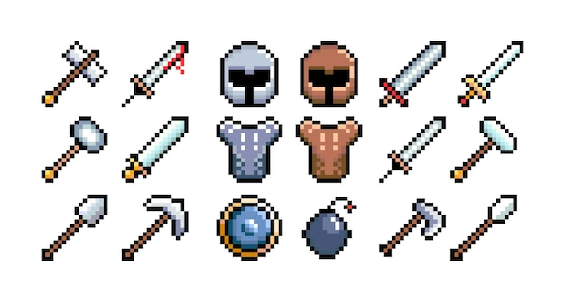 Set of 8bit pixel graphics icons isolated vector illustration game art weapons helmet shield