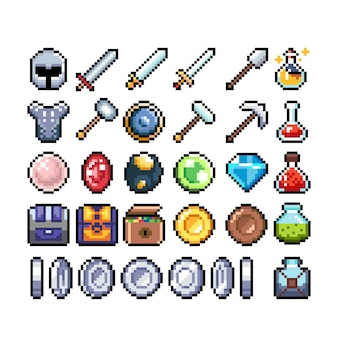 Set of 8bit pixel graphics icons isolated vector illustration game art weapons jewelry potions