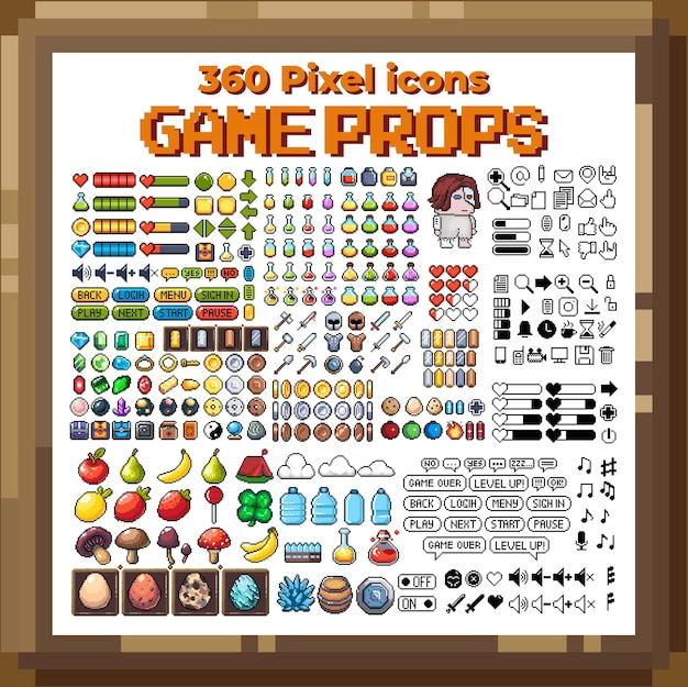 Set of 8bit pixel graphics icons isolated vector illustration game art weapons jewelry