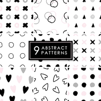 Set of 9 abstract seamless patterns.