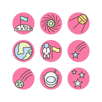 Set of 9 astronomy icons on white vector isolated elements