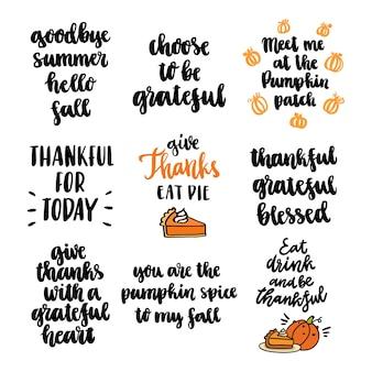 Set of 9 autumn inscriptions for thanksgiving autumn festivals harvest