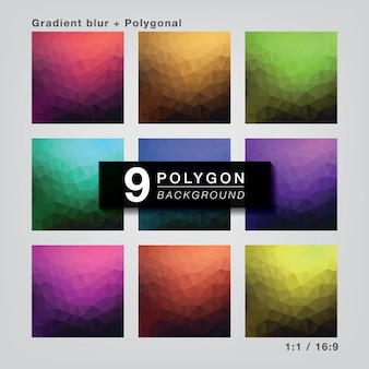 Set 9 colors polygonal gradient for background