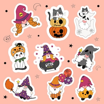Set of 9 cute halloween gnome and cat in fancy costume party cartoon sticker collection.