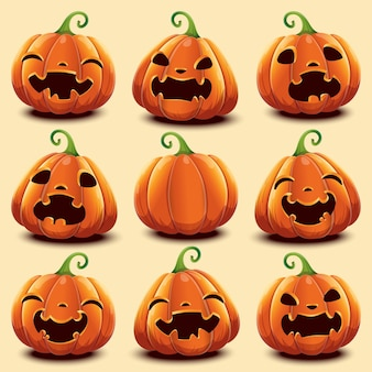 Set of 9 cute realistic pumpkins with different faces for halloween. vector illustration. isolated.