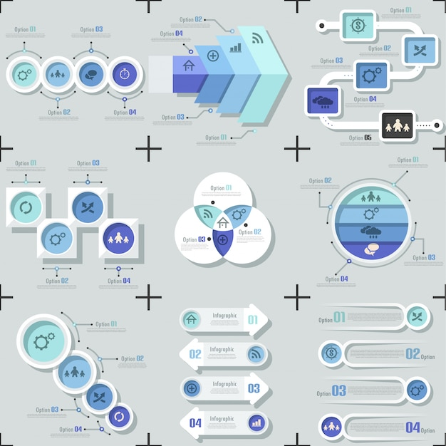 Set of 9 flat minimal infographic templates