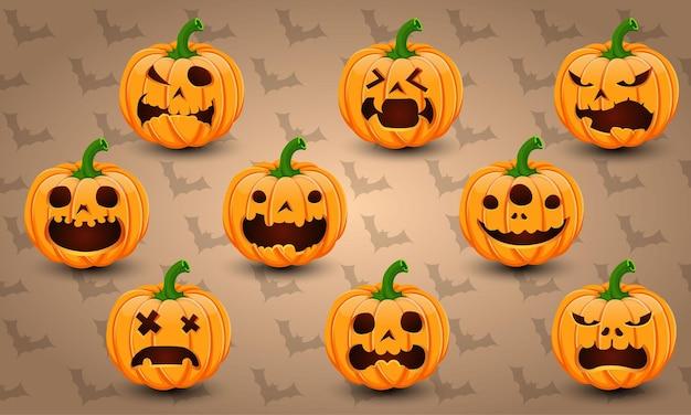 Set of 9 halloween pumpkins vector