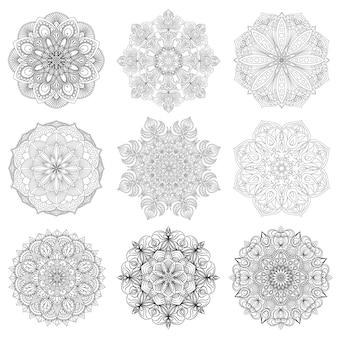 Set of 9 hand-drawn vector arabic mandala on white background. ethnic decoration