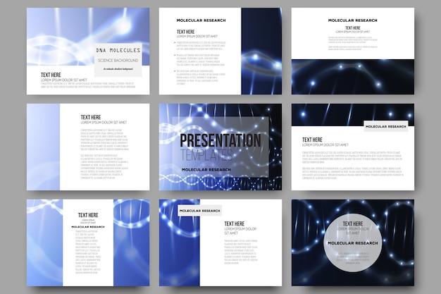 Set of 9 templates for presentation slides. dna molecule structure on dark background.