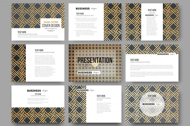 Set of 9 templates for presentation slides. islamic gold pattern