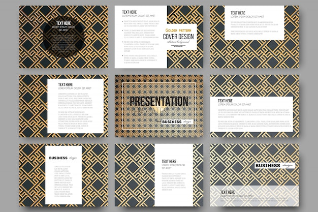 Set of 9 templates for presentation slides.