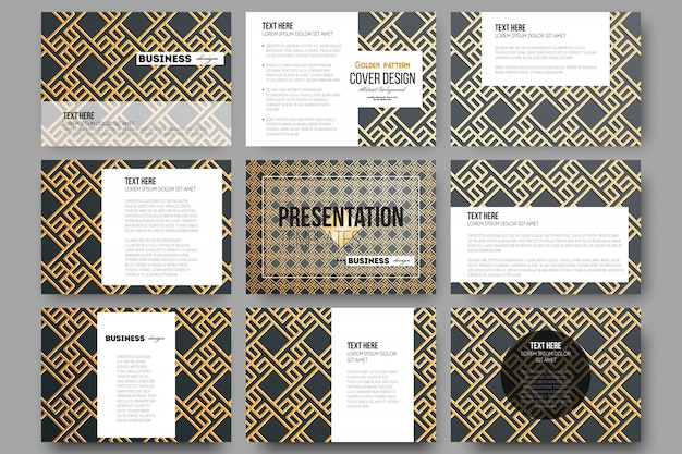 Set of 9 vector templates for presentation slides. islamic gold pattern