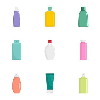 Косметическая бутылка икона set. плоский набор из 9 иконок косметических бутылок