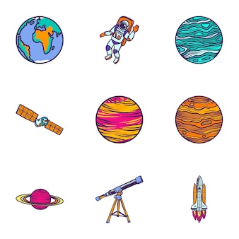 Космическая астрономия икона set. набор рисованной 9 иконок космической астрономии