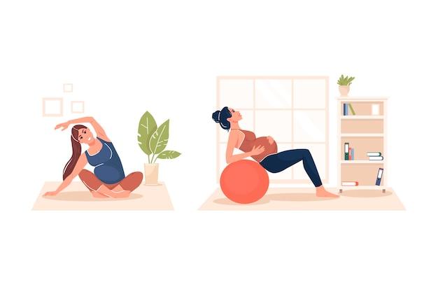 Набор беременная женщина выполняет гимнастику, заботясь о теле и здоровье векторные иллюстрации