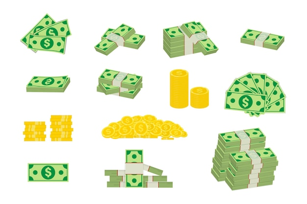 Установите различные денежные купюры долларовые наличные бумажные банкноты и золотые монеты. большая куча наличных денег и несколько золотых монет. упакованные долларовые купюры. элементы изображения для вашего бизнеса. разные банкноты