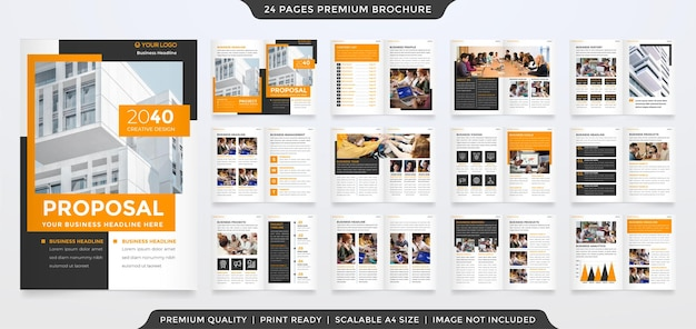 Set of a4 business brochure template with abstract style and modern layout