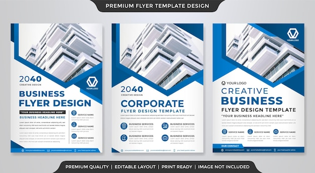Set of a4 business flyer template design with abstract and modern style use for business cover and leaflet