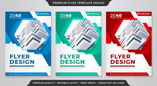 Set of a4 corporate flyer design with abstract style use for business poster
