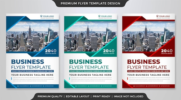 Set of a4 flyer template premium style