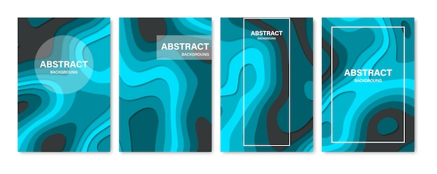 Set of abstract 3d backgrounds. paper cut shapes. template for banner, brochure, book cover, booklet design. illustration.