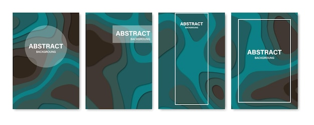 Set of abstract 3d backgrounds. paper cut shapes. template for banner, brochure, book cover, booklet design. vector illustration.