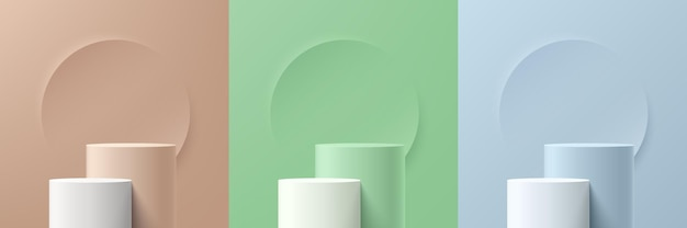Set of abstract 3d beige, green, blue and white cylinder pedestal podium with circle backdrop. pastel minimal wall scene collection. modern vector rendering platform for product display presentation.