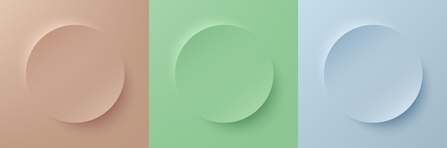 Set of abstract 3d beige light green and blue pastel color circle frame for product display