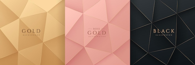 Set of abstract 3d luxury gradient golden pink gold and black low polygonal modern design