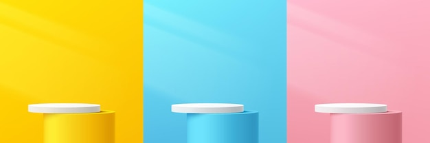 Set of abstract 3d pastel yellow pink blue and white cylinder pedestal or podium with lighting