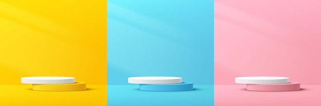 Set of abstract 3d pastel yellow pink blue and white cylinder pedestal podium with lighting