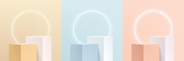 Set of abstract 3d pink, yellow, blue and white cube pedestal or stand podium with illuminate circle neon. pastel minimal scene collection. vector rendering platform for product display presentation.