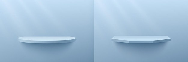Set of abstract 3d rendering light blue geometric shelf with pastel minimal scene