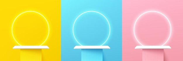 Set of abstract 3d shelf or white stand podium on yellow blue pink wall scene with neon ring