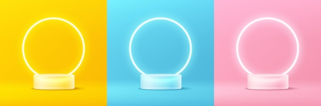 Set of abstract 3d transparent glass cylinder podium with glowing neon ring and pastel wall scene