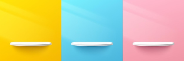 Set of abstract 3d white semi circle shelf on yellow blue pink pastel wall scene with lighting