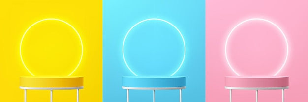 Set of abstract 3d white shelf or stand podium on yellow blue pink wall scene with neon ring