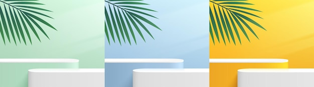 Set of abstract 3d  yellow blue green white round corner pedestal podium with green palm leaf